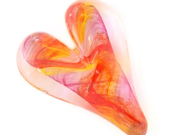 Glass Heart Paperweight / Red, Pink & Yellow color / Handmade Blown Glass Art / Valentine's Day Gift / Home Decor
