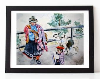 Mother and Child, original watercolor painting Cuzco Peru, peruvian art, peruvian watercolor south america painting lama painting family art