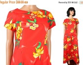 MEMORIAL DAY SALE Hawaiian Sun Dress Sz M Vintage 70s Long Red Orange Yellow Floral Cap Sleeve Free Us Shipping
