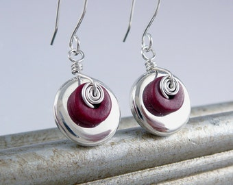 Red Drop Earrings for Women, Red Jewelry, Cool Earrings, Spiral Earrings, Artisan Jewelry, Silver Drop Earrings, Unique Handmade Jewelry