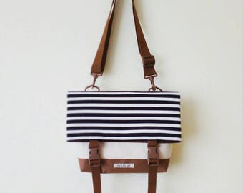 Canvas Crossbody Bag, Crossbody Bags for Travel, Foldover Crossbody bag, Messenger Bag, Shoulder Bag, Hip Bag, Fold Over, Striped Bag