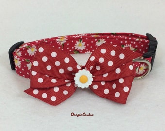 Red Dot Daisy Dog Collar Size XS Through Large by Doogie Couture
