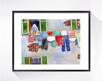 Laundry Room Decor Italian Laundry Art Prints Watercolor art Clothes Line Watercolor Illustration Watercolor painting Laundry artwork A