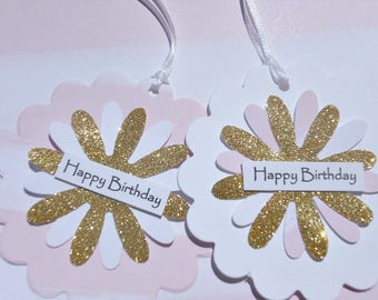 Birthday Tags, Birthday Gift Wrap, Floral Gift Tags, Pink White Gift Tags, Gold Glitter Gift tags, Gold Glitter Birthday Wrap - ggbt1