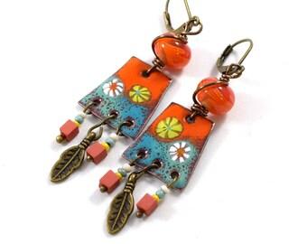 Orange and Turquoise Boho Chic Chandelier Earrings, Tribal Earrings, Artisan Earrings, Industrial Earrings, Orange Earrings, Enameled, AE220
