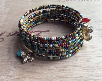 Memory Wire Wrap Bracelet Seed Bead With Bee and Gemstone Charm Dangles
