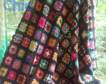 Vintage Granny Square Afghan Rich Jewel Colors Ready to Ship LittlePinkTrailer