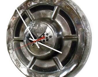 1959 Chevy Corvette Hubcap Clock - Chevrolet Hub Cap - Car Part Wall Decor