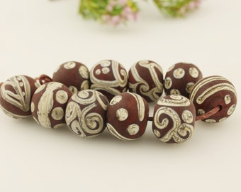 SRA Lampwork Glass Bead Set  Organic, Brown and Ivory