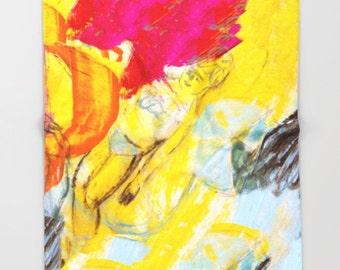 Throw Blanket, bedding, decor home, sofa blanket, travel blanket, from painting summer,girl, spanish art