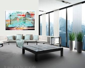 Print Giclee Art, Fine Art Print, blue pink gray, turquoise, swans decor modern, wall art, by Ana Gonzalez