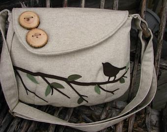 """Bird Tote, Vegan Purse, Bird Bag, Eco-Friendly Nature Messenger, 12"""" X 9""""  Handmade Tote, Ultra Suede Applique"""