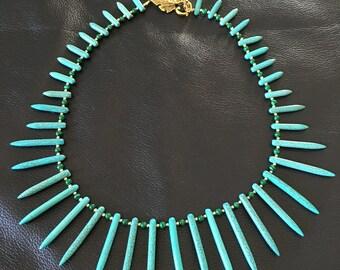 Turquoise Needle Gemstones with Malachite Gemstones Beaded Necklace