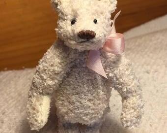 Miniature Hand Sewn 3-1/4in. CREAM Terry Cloth Teddy Bear PURSE