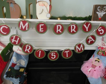 Christmas banner, Merry Christmas banner, Holiday banner, banner for mantle, holiday decorations, photo prop