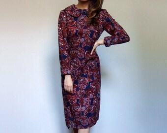 Vintage Mod Dress 70 Long Sleeve Dress with Pockets for Women Navy Blue Peter Pan Collar Dress - Medium M