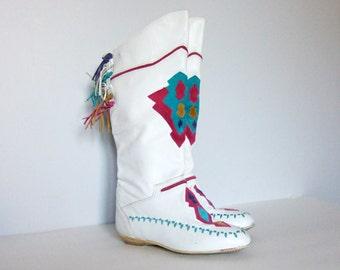 Leather Boho Boots Size 8 Vintage Southwestern White Boots Leather Boots Tassel Colorful Boots L.J. Simone Festival Boots