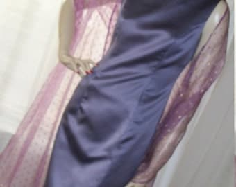 1920s Flapper Style Vintage Frock Lavendar Satin Sheath Size M Mint Cond made in USA