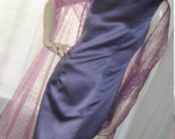 Vintage 1920s Flapper Style Dress Lavendar Satin Sheath Size M Mint Cond made in USA