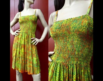 Vintage 90s Psychedelic Grunge Dress Green/Orange Abstract Mini Sun OS