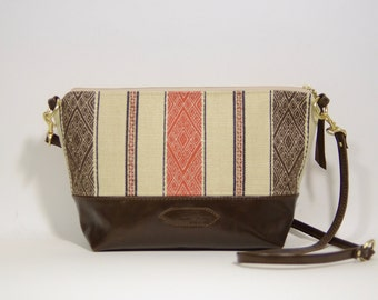 Nana handmade tribal striped fabric + leather crossbody bag