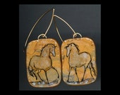Horse Jewelry: Very Golden Gold Horses. Earrings. Ink Drawing on Polymer Clay. Golds, Silver and Black. 4243