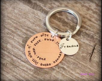 Hand Stamped Keychain, Hand Stamped Keyring, Copper Keychain, Grandpa's Keychain, Grandma's Keychain, Grandparent's Gift, Mama Mia