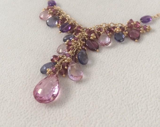 Semiprecious Gemstone Pendant Necklace in Gold Vermeil, Mystic Pink Topaz, Amethyst, Rhodolite Garnet, Iolite, Mystic Pink Quartz