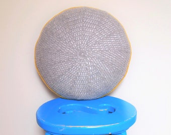 Grey Crocheted Round Cushion