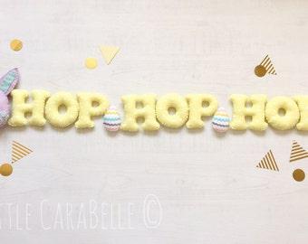 Easter Banner Garland in Lemon and Lilac felt. Easter bunny, easter egg, Hop, decoration. Reusable custom banner.