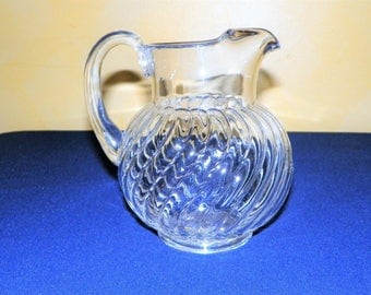 Fostoria Colony 2 Quart Ball Pitcher, Elegant Thick and Silky Swirls of Glass, Serve Fruit Drinks, Cocktails, Ice Tea, Lemon-aid, Juices
