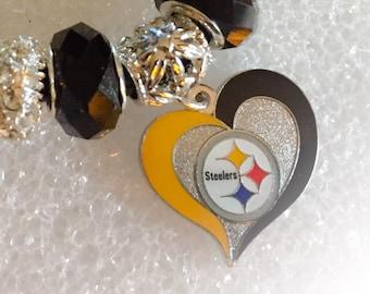 FABULOUS Pittsburgh Steelers INSPIRED jewelry bracelets handmade inspired.jewelry bracelets
