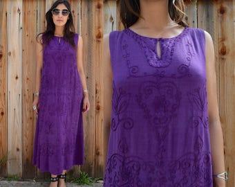 Vintage 80s Purple EMBROIDERED MAXI Dress CAFTAN M L