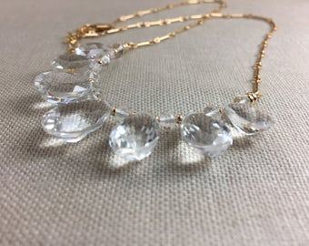 Rock Crystal Quartz Necklace in Gold