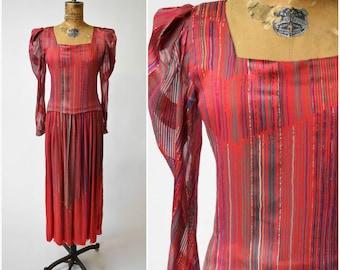 80s Stavropoulos Striped Red Silk Dress with Full Sleeves & Drop Waist // Bold, Elegant Designer Vintage