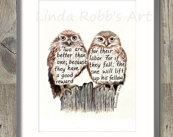 Two cute owls, Bible Verse art print, scripture design, hand lettered typography, wall art decor