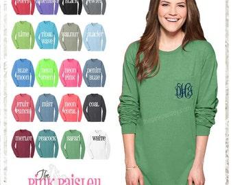 Long Sleeve Monogram Shirt | Personalized Long Sleeve Shirt | Pocket T Shirt | Boutique Clothing | Preppy Shirt | Preppy Clothing | Boutique