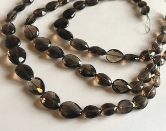Gorgeous Smoky Quartz nuggets, center drilled teardrops, 7.5 inch strand, 6-12mm (w198)