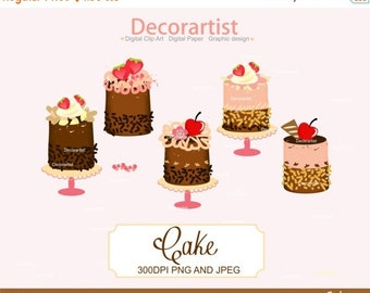 Cute Cake Clipart, Chocolate Cake Clipart, INSTANT Download