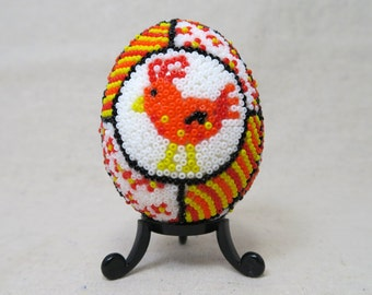 Pysanky, Ukrainian, Rooster, Red Rooster, Orange Easter egg, Farmhouse Décor, Rustic Décor, Chicken Design, Orange Bird, Seed Bead - BD03G