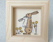 Bunny Hugs Embroidered Picture handmade with Spring Flowers and French knot Tails. Box frame mini. Gift idea new baby MADE TO ORDER
