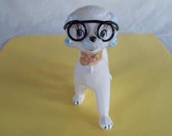 Vintage Ceramic Dog Wearing Glasses