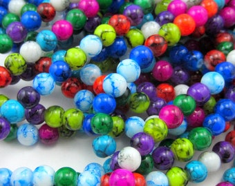 """6mm Multicolor glass beads 16"""" strand smooth glass mala beads DIY jewelry supply HP13(A1A8),"""