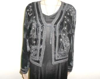 Black Velvet , Tie Front, 80's Dressy Jacket - Size M