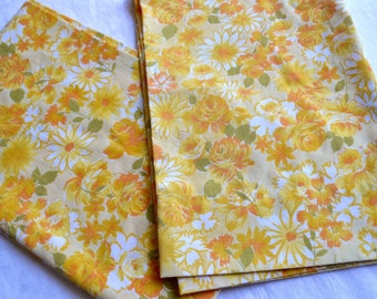 Vintage Pillowcases - Yellow Roses and Flowers - Standard Size Pair