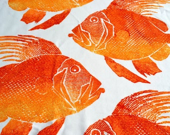 Vintage Fabric Sample - Orange Grouper Fish on White - 23 x 26