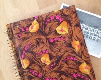 Yellow hawaiian floral brown mod photo album vintage spiral 1970's