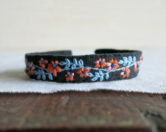 Floral Fabric Cuff Bracelet - Orange and Pink Flowers with a Aqua Blue Vine on Black Linen Cuff Bracelet