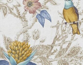 Duralee Birds of prey, blue, turquoise, botanical, high end designer drapes, rod pocket curtain panels,