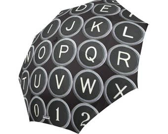Vintage Typewriter Keys Umbrella - vintage typography - foldable alphabet umbrella